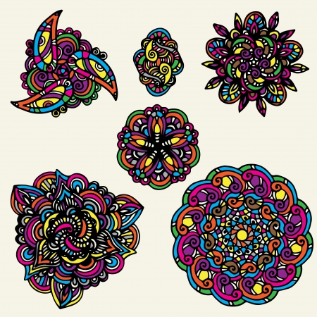 Set colorful floral tattoo Stock Vector - 20002015