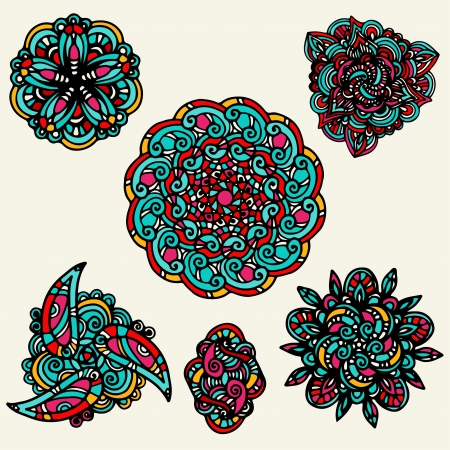 Set colorful floral tattoo  Stock Vector - 20014163