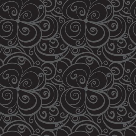Gray florals seamless  pattern - vector Illustration