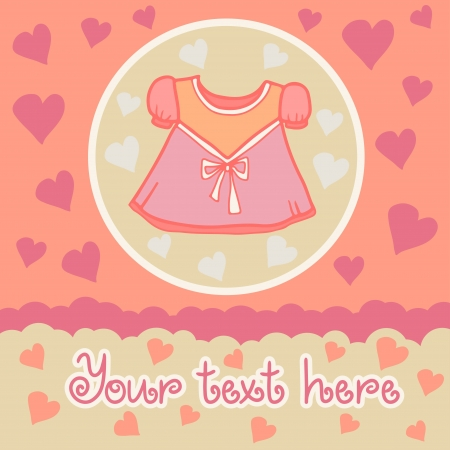 Baby girl background with dress  Vector