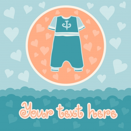 Baby boy background with overall  Vector