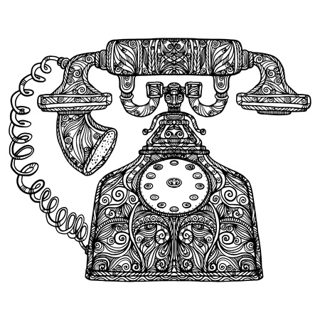 vintage telefoon: Vintage telefoon pictogram Stock Illustratie