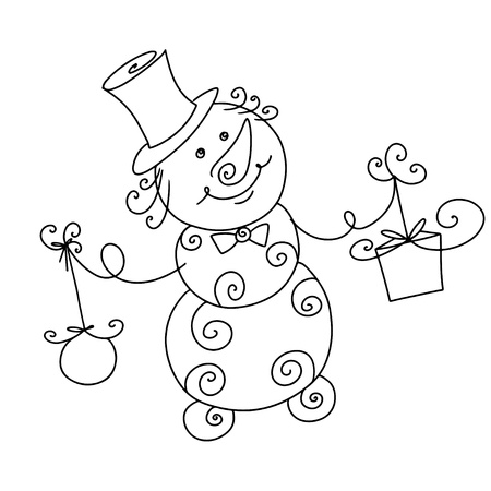 Snowman with a gift and toy icon isolated  Vector