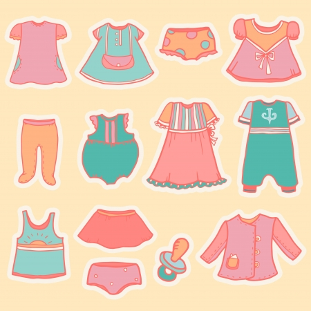 Set of vintage children Vector
