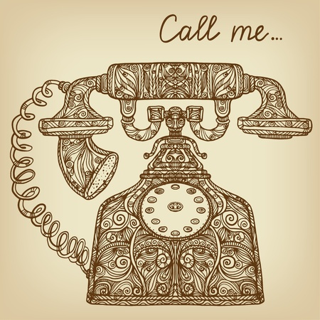 call me: Vintage background with telephone