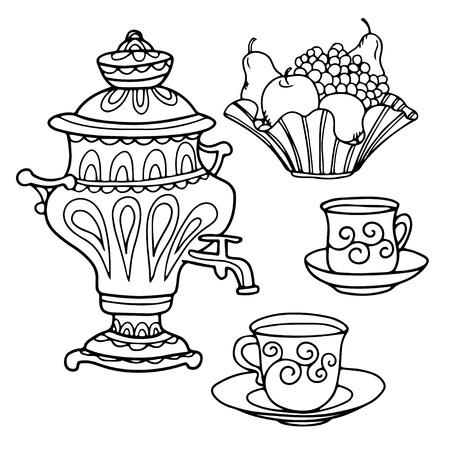 Set russian samovar, bowl of fruit and teacups