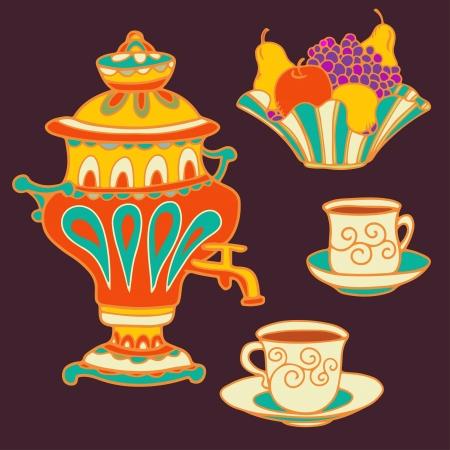 Set colorful russian samovar, bowl of fruit and teacups
