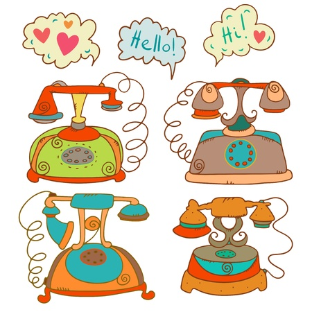 Vintage isolated set of phones  Vector