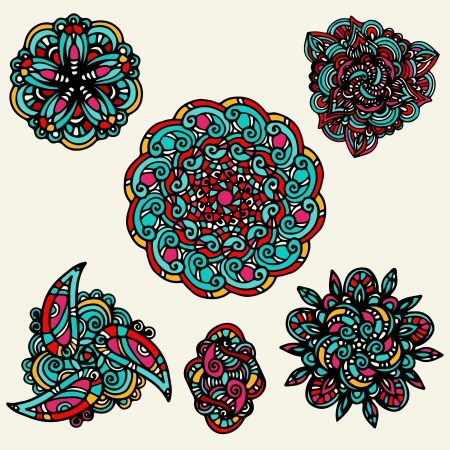 Set colorful floral tattoo Stock Vector - 20596574