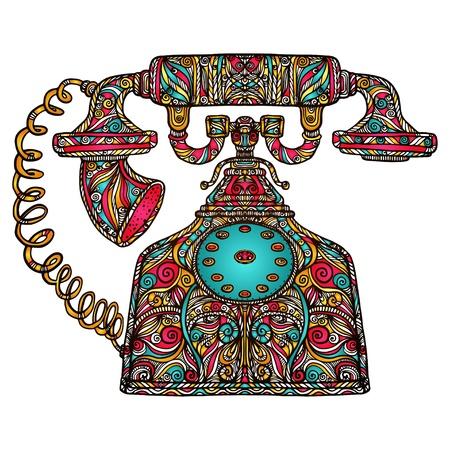 vintage telefoon: Kleurrijke vintage telefoon icoon