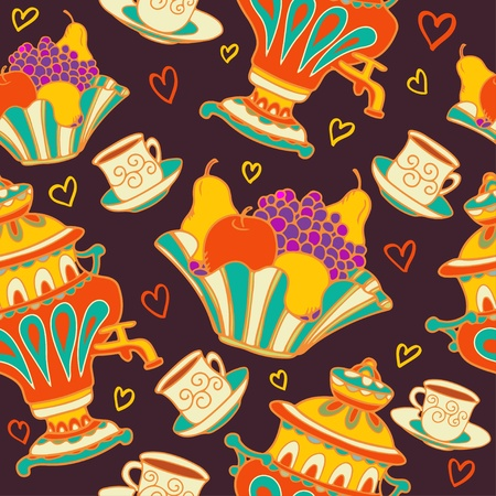 samovar: Colorful seamless pattern with russian samovar, bowl of fruit and teacups