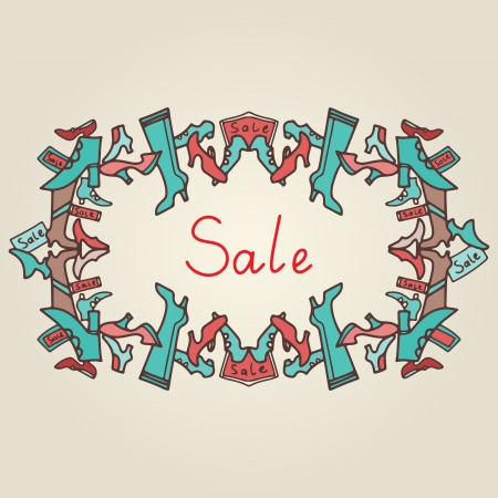 Vintage frame shoes sale  Vector