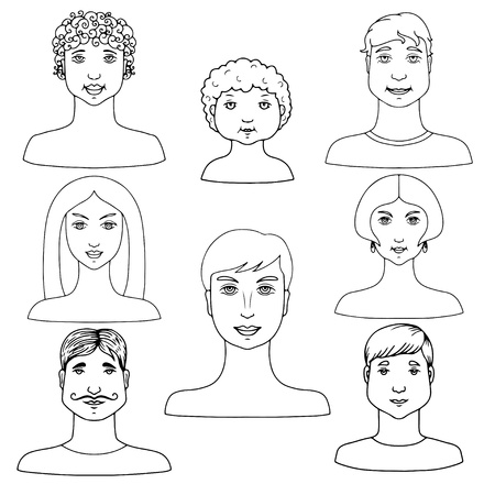 Set isolated people icon  Vector
