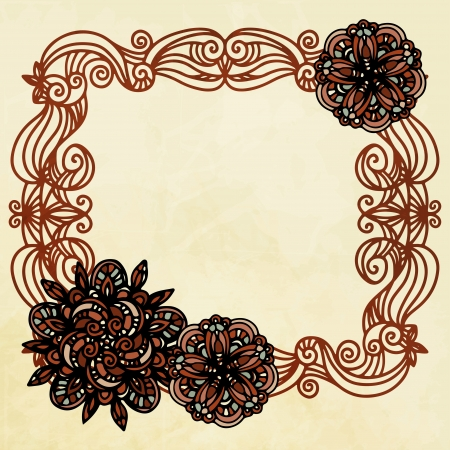 Background with vintage isolated floral frame  Vector