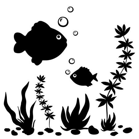 corales marinos: Aisladas peces siluetas negras, plantas y conchas