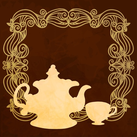 demitasse: Background with teacup, teapot, frame and space for text  Illustration