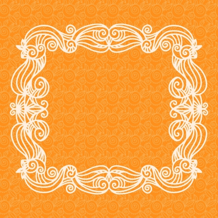 Orange vintage lace seamless background with frame - vector Vector