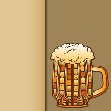 Background with mug of beer and space for text  Vector