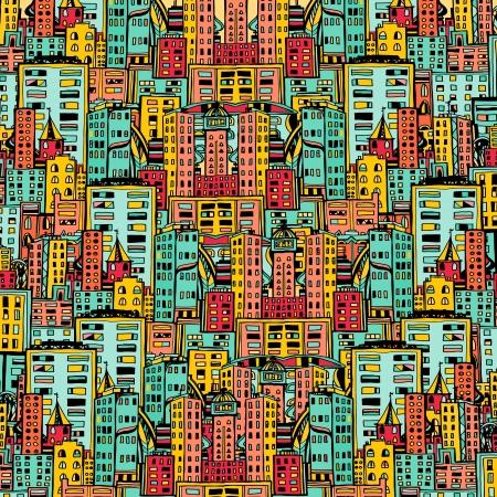 Panorama of the city cartoon illustration  Stock Illustratie