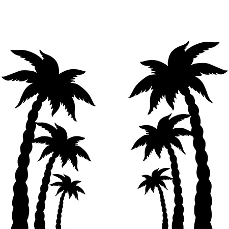 ollection: Set coconut palms trees silhouettes isolated on white background - vector
