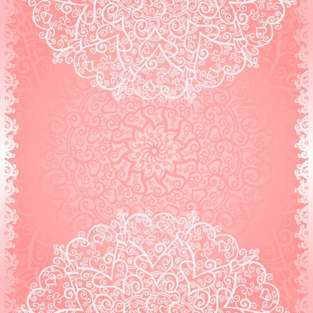 Pink floral lace background with space for text  Vector