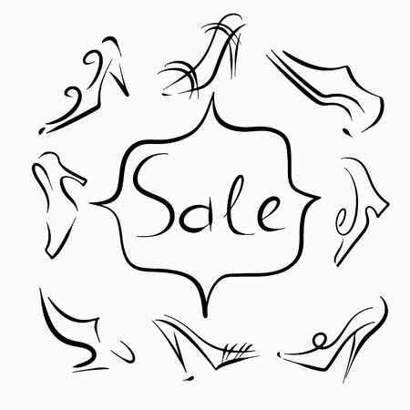 Set sketch of shoes sale - vector Vector