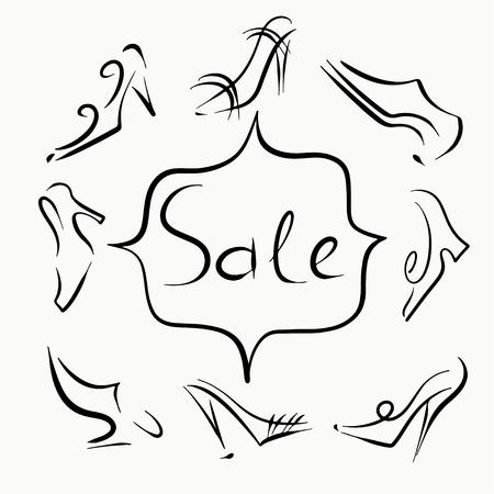 men's shoes: Set sketch of shoes sale - vector