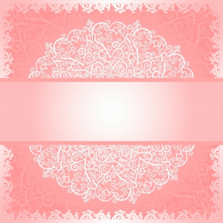 Pink floral lace background with space for text - vector Vector