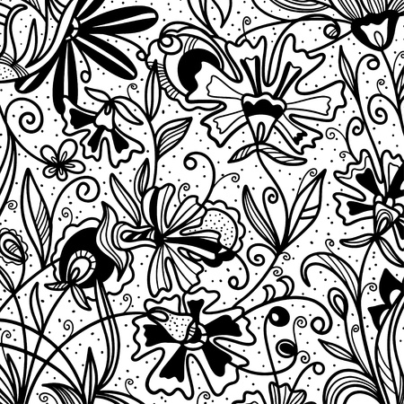 Abstract floral monochrome background - vector Vector