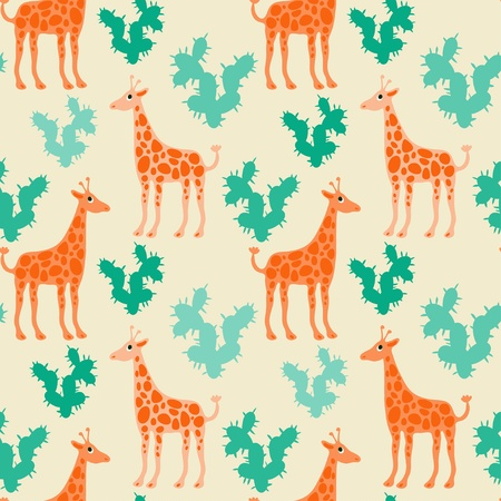 Seamless pattern with giraffes and cactus - vector Vector
