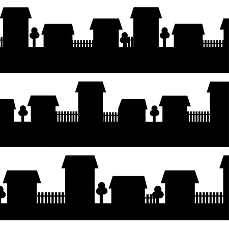 Set isolated silhouettes of cities - vector Vector