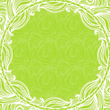 Green lace background and frame - vector Vector