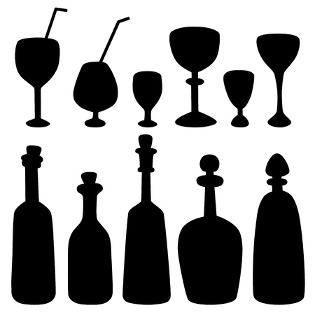 Set isolated silhouette bottles, stemware, decanters and wine glass - vector Vector