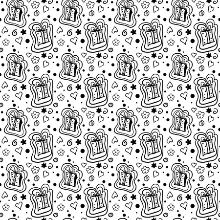 Monochrome seamless pattern with gift box - vector Vector