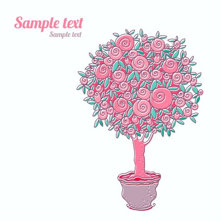 Vintage background with stylized rose tree and space for text - vector Vector
