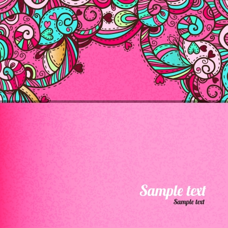 Pink abstract background with hearts and space for text - vector Vector