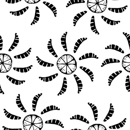 Monochrome seamless pattern with oranges - vector Vector