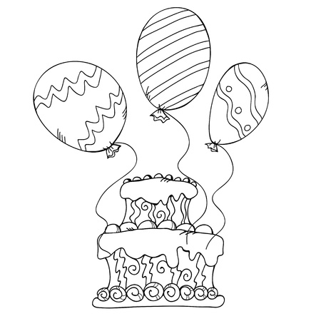 Icon birthday cake with balloons - vector