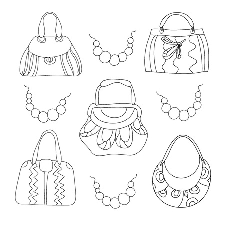 Vintage set isolated bags and beads - vector