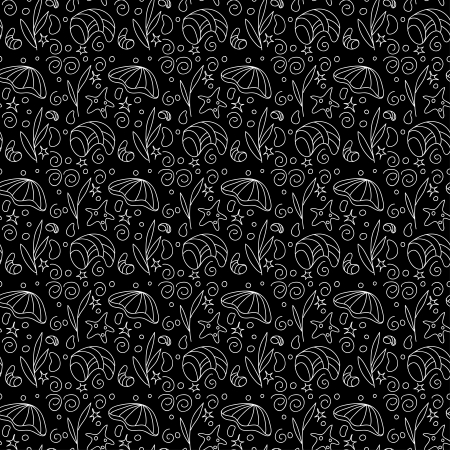 Monochrome seamless pattern with sea shells, starfish and  plants - vector Vector