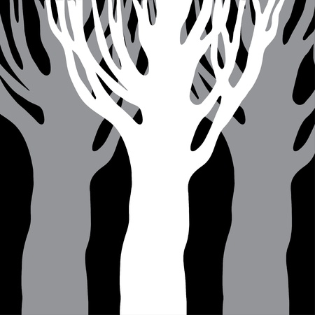 Trees silhouettes isolated background - vector Vector