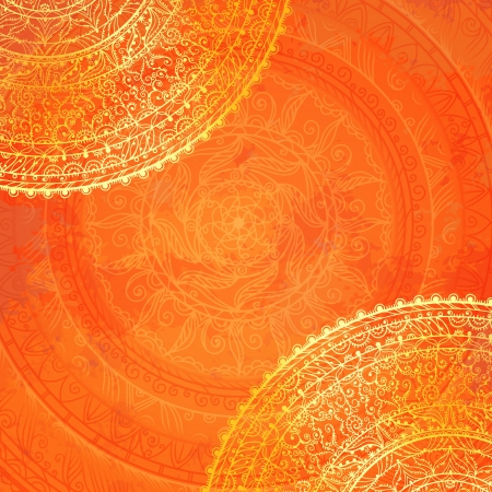 Vintage orange lace background with space for text - vector Vector