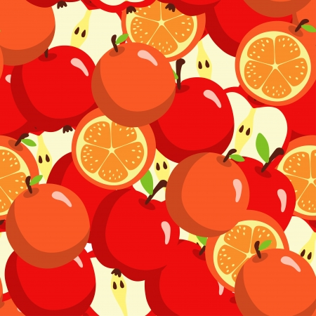 Seamless pattern with oranges and apples - vector Vector