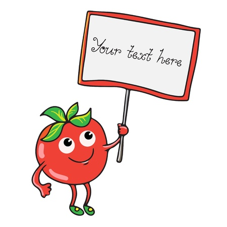 Tomato and banner isolated - vector Vector