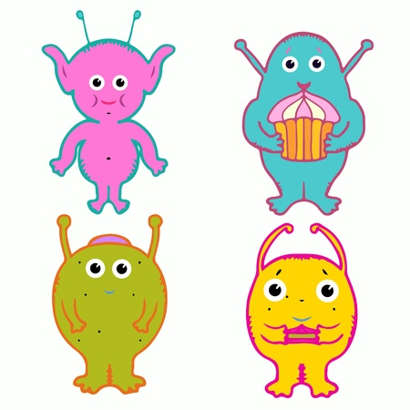 children s feet: Set isolated aliens and monsters