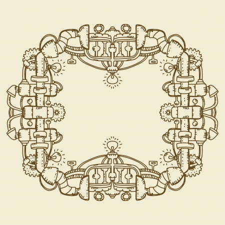 Steampunk frame isolated with space for text   Vector