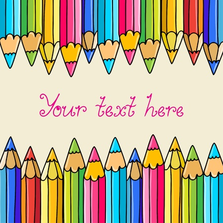 Background with colorful pencils and  space for text  Vector