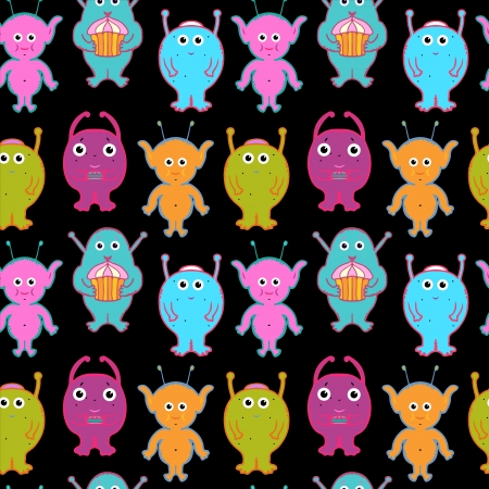 Seamless pattern with aliens and monsters  Vector