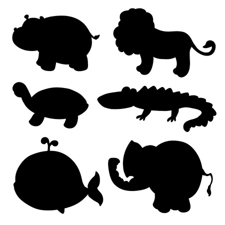Set isolated silhouettes animals  Vector