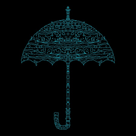 Icon umbrella with a pattern on the marine theme  Vector